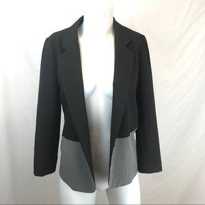 AQUA Black and Grey Color Block Open Front Blazer